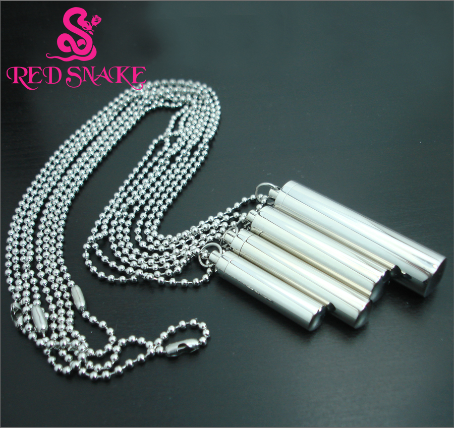 RED SNAKE Pure Titanium Steel Cylindric Barrel-type Openable Type Inside Empty Caulked Waterproof Pendant Necklaces