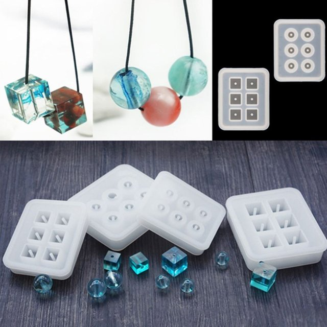 Facemile New Transparent Rectangle Silicone Bead Mould Square Ball 6 Holes DIY Epoxy For Jewelry Mold Cake Decoration Tools