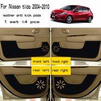 4pcs Leather Car Styling Anti Kick Pad Anti dity Door Mat Accessories For Nissan tiida c11 2004 2005 2006 2007 2008 2009 2010