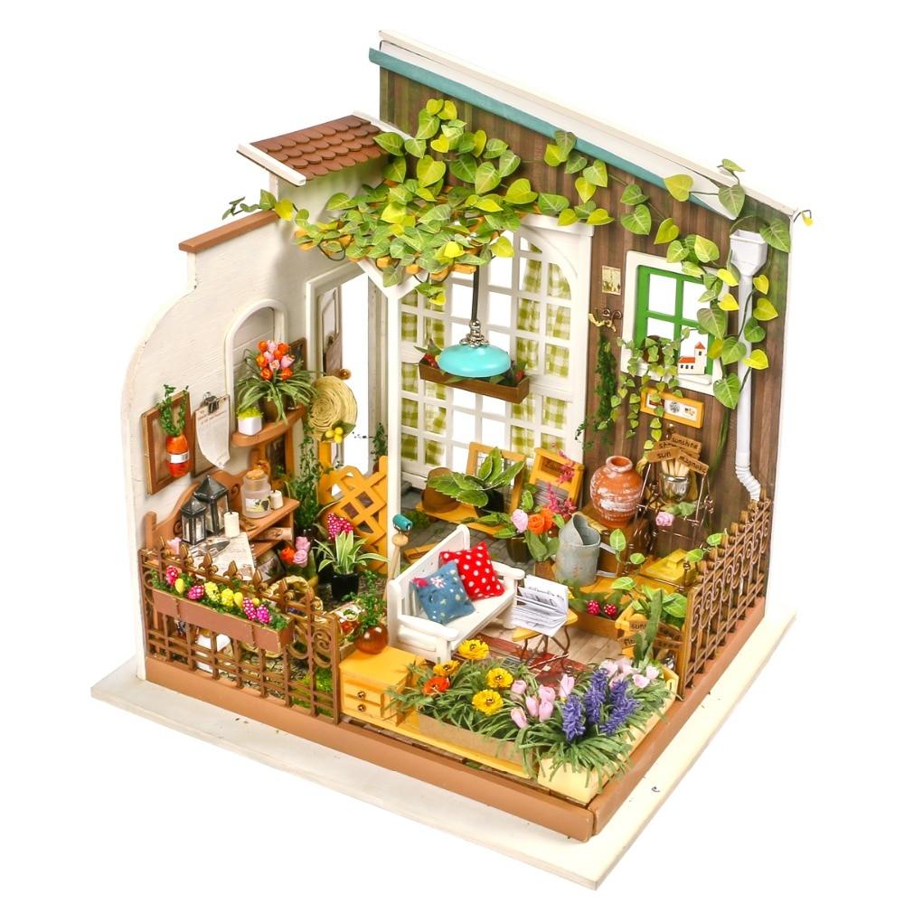 Robotime bricolage maison de poupée jardin de meunier cadeau pour enfants adulte Miniature maison de poupée en bois modèle Kits de construction jouets DG108