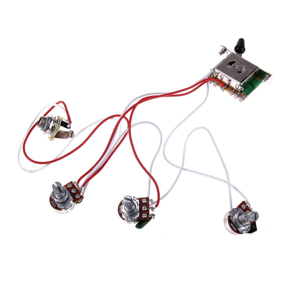 hight resolution of 1set wiring harness guitar wiring assembly harness 1v2t 1jack 3 500k pots 5way switch with 0 473 capacitors guitar parts new