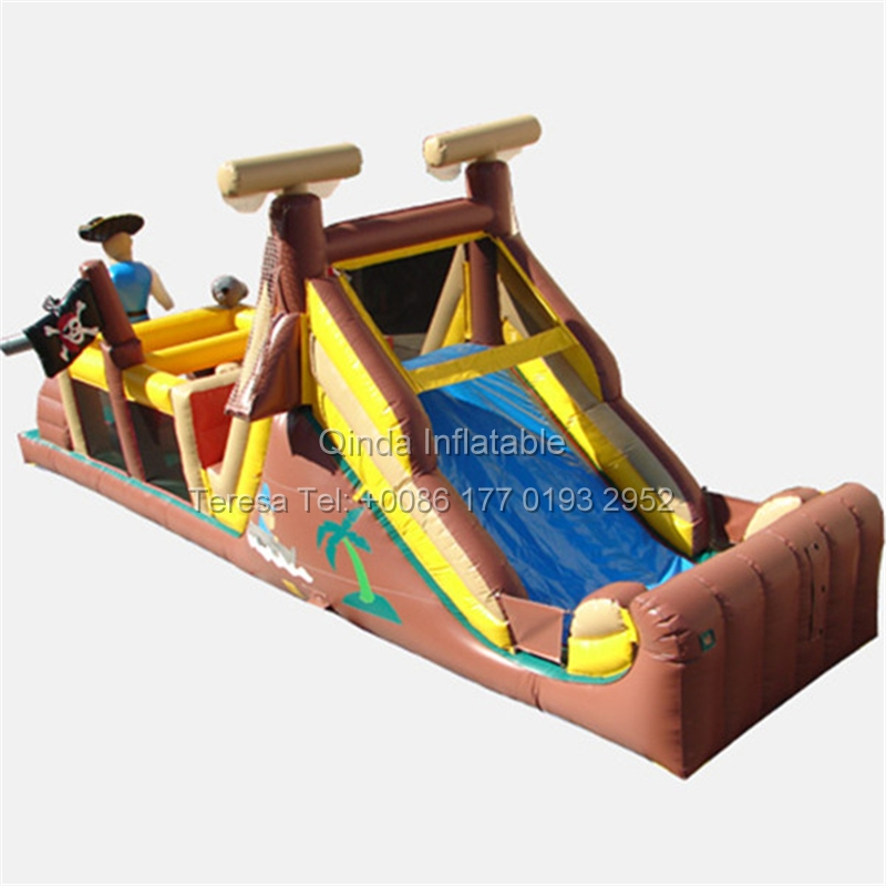 40ft  Long Outdoor Playground Pirate Inflatable Obstacle Course Inflatable Bouncy House Jumping Bed Obstacle Game inflatable obstacle toys space wonders theme playground inflatable toys factory price