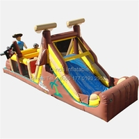 40ft Long Outdoor Playground Pirate Inflatable Obstacle Course Inflatable Bouncy House Jumping Bed Obstacle Game