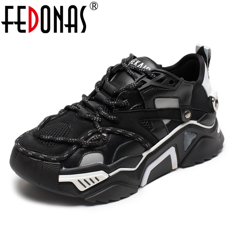 FEDONAS 2020 Women Genuine Leather Lace-up Casual Shoes Woman Flats Platforms New Fashion Sneakers Sport Shoes Sneakers