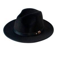 New Fashion Wool Women S Black Maison Michel Fedora Hat For Laday Woolen Wide Brim Jazz