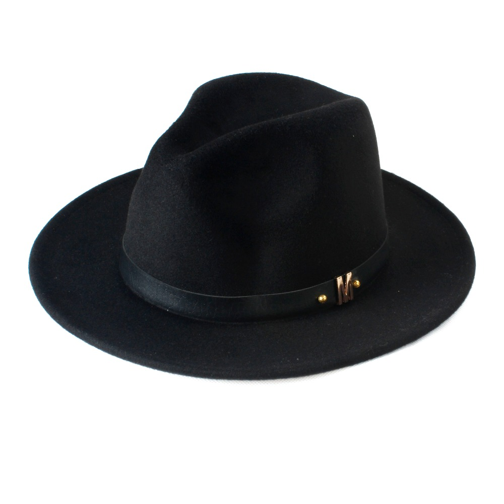 ab581d2b50 New Fashion Wool Women's Black Fedora Hat For Laday Woolen Wide Brim Jazz  Church Cap Vintage Panama Sun Top Hat 20