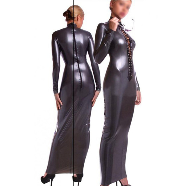 Full Sleeve Latex vestidos Silver Slim Rubber Dresses Large Size Hot Sale  S-XXL Customize Service dca21ddabc2c