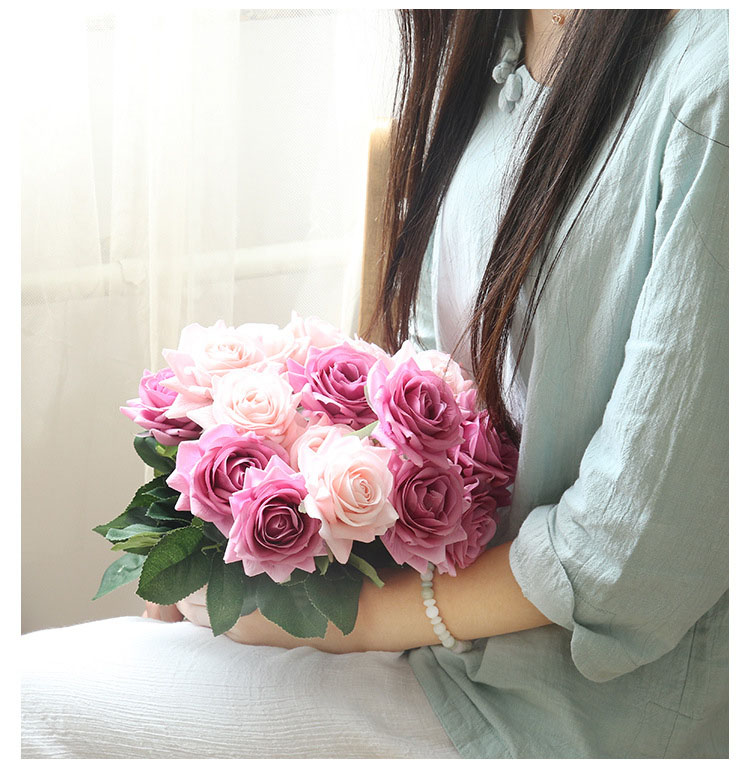 Real touch roses artificial flower wedding home decoration (23)