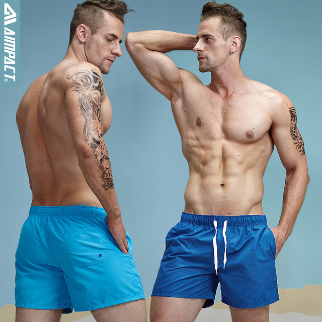 Aimpact 2Pcs/Lot Quick Drying Men's Board Shorts Sexy Beachsurf Men's Jogger Short Fashion Sexy Home Shorts for Men Trunks 2PF55