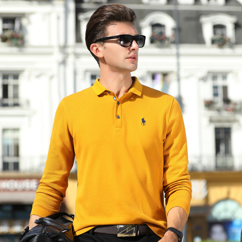 New 2018 High Quality Autumn Mens Pure Cotton Solid   Polos   Shirts Men's Bussiness Casual Tops Tees Clothings Retro 8855