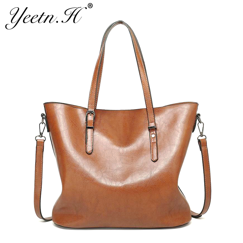 Yeetn H Leather Bags Handbags Women Famous Brands Big Casual Women Bags Trunk Tote Shoulder Bag