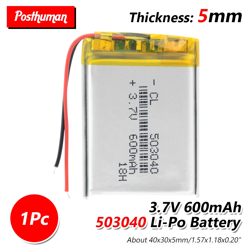3.7V 600MAH Lithium Polymer Battery 503040 053040 Rechargeable Li-Po Batteries For MP3 MP4 MP5 GPS Bluetooth DIY Audio Toys