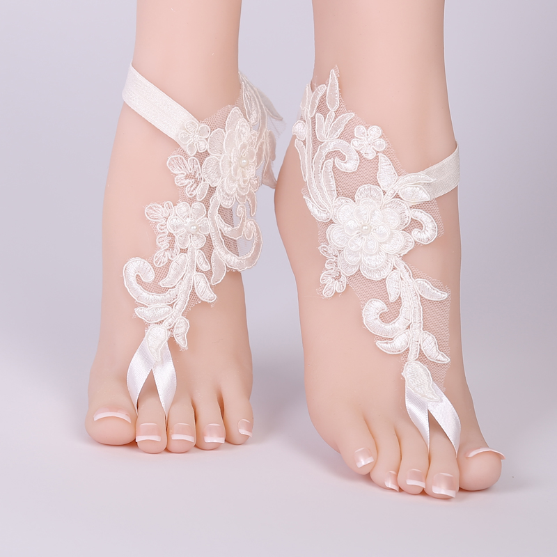 3cbe6e099b69 2018 Sexy Wedding Foot Chain White Barefoot Sandals Beach Anklet Jewelry  Wedding Shoe Lace 1pair set-in Socks from Underwear   Sleepwears on  Aliexpress.com ...