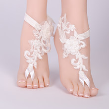 2018 Sexy Wedding Foot Chain White Barefoot Sandals Beach Anklet Jewelry Wedding Shoe Lace 1pair/set(China)