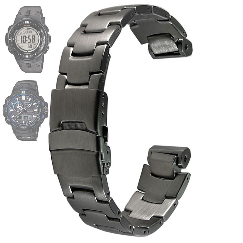 Image 2 - Stainless steel Strap  for CASIO PRG 300/PRW 6000/PRW 6100/PRW 3000/PRW 3100 Watch bands-in Watchbands from Watches