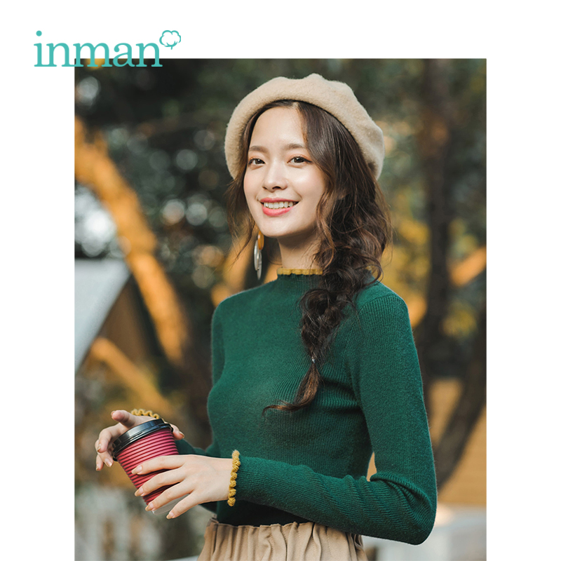 INMAN Winter Warm Spring Autumn Turtleneck Women Female Thin Style Fashion Basic Ladies Pullover Knitwear Knitted Sweaters