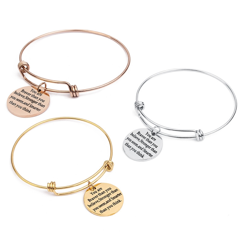 1pc/lot Stainless Steel PVD Engrave Words Wire Bracelet Adju