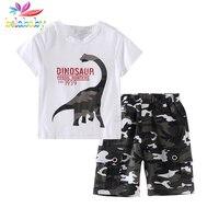 Belababy Camo Armia Zestawy Zestawy Dla Dzieci Odzież Chłopcy List Dinozaura Kreskówki Szorty Lato Ustawia Odzież Dla Dzieci 2 Sztuk Garnitury