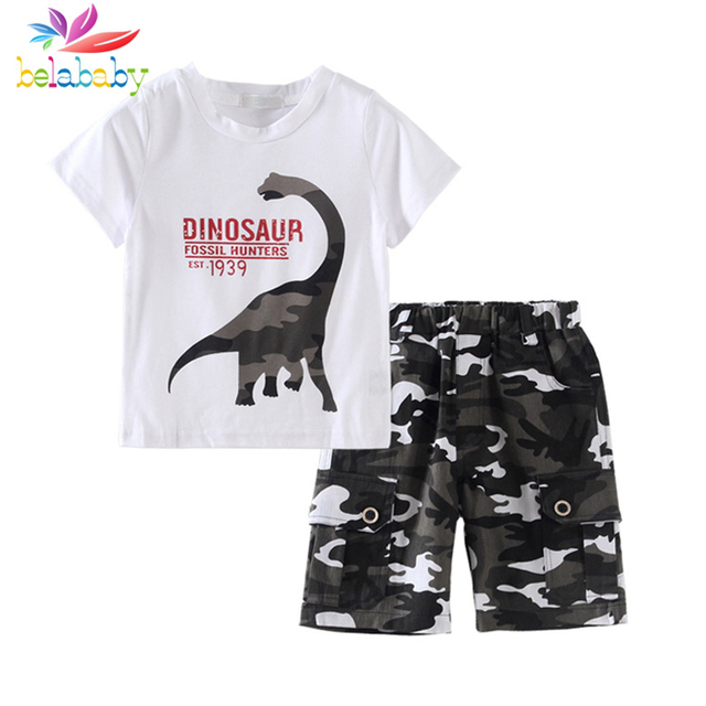 d5ba23df555d Belababy Camo Army Sets Kids Clothes Boys Sets Letter Cartoon Dinosaur Shorts  Summer Sets Children Clothing 2 Pcs Suits