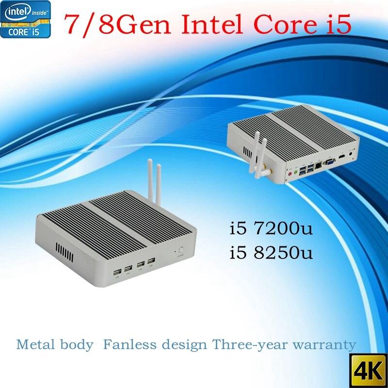 El más nuevo Kaby Lake R 8Gen Fanless mini pc i5 8250u i5 7200u Intel UHD 620 win10 NUC pc Freeshipping