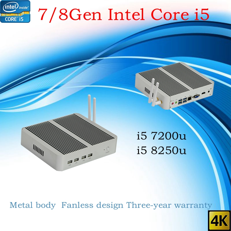 Newest Kaby Lake R 8Gen Fanless mini pc i5 8250u i5 7200u Intel UHD 620 win10