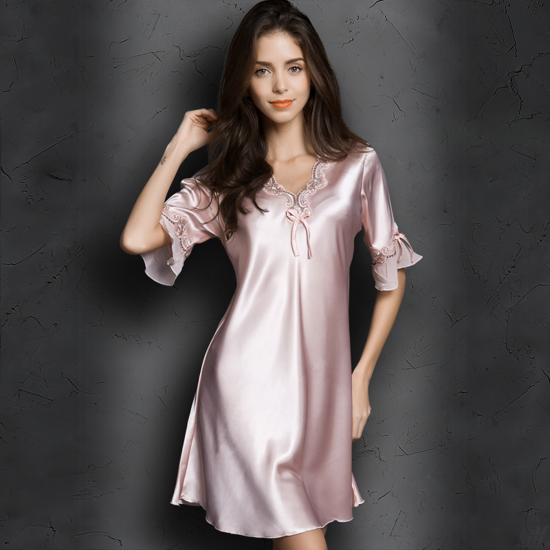 2018 new ladies sexy silk satin night dress sleeveless v neck nightgown lace sleepwear for women sexy lingerie