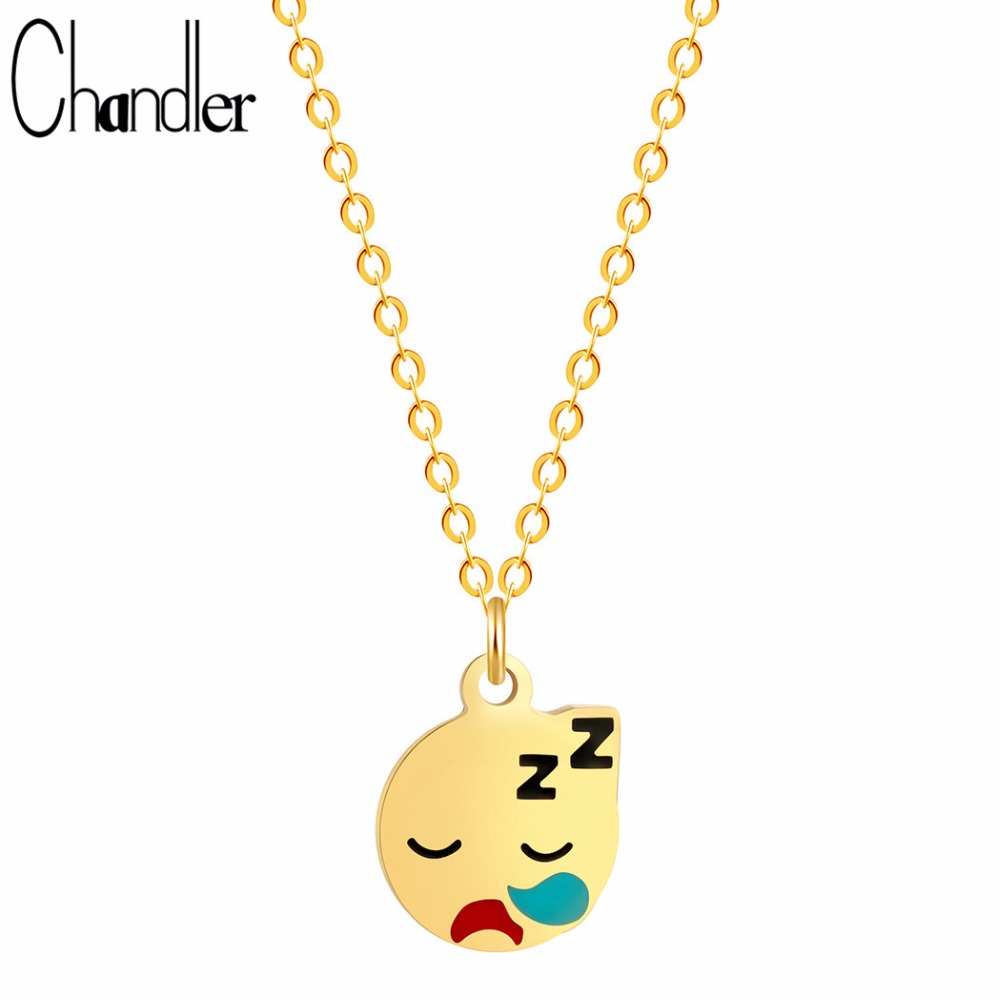 Chandler Sleeping Face Expression Charm Necklaces For Women Body Long Chain Cartoon Emoji Expression Colar Maxi Wedding Jewelry