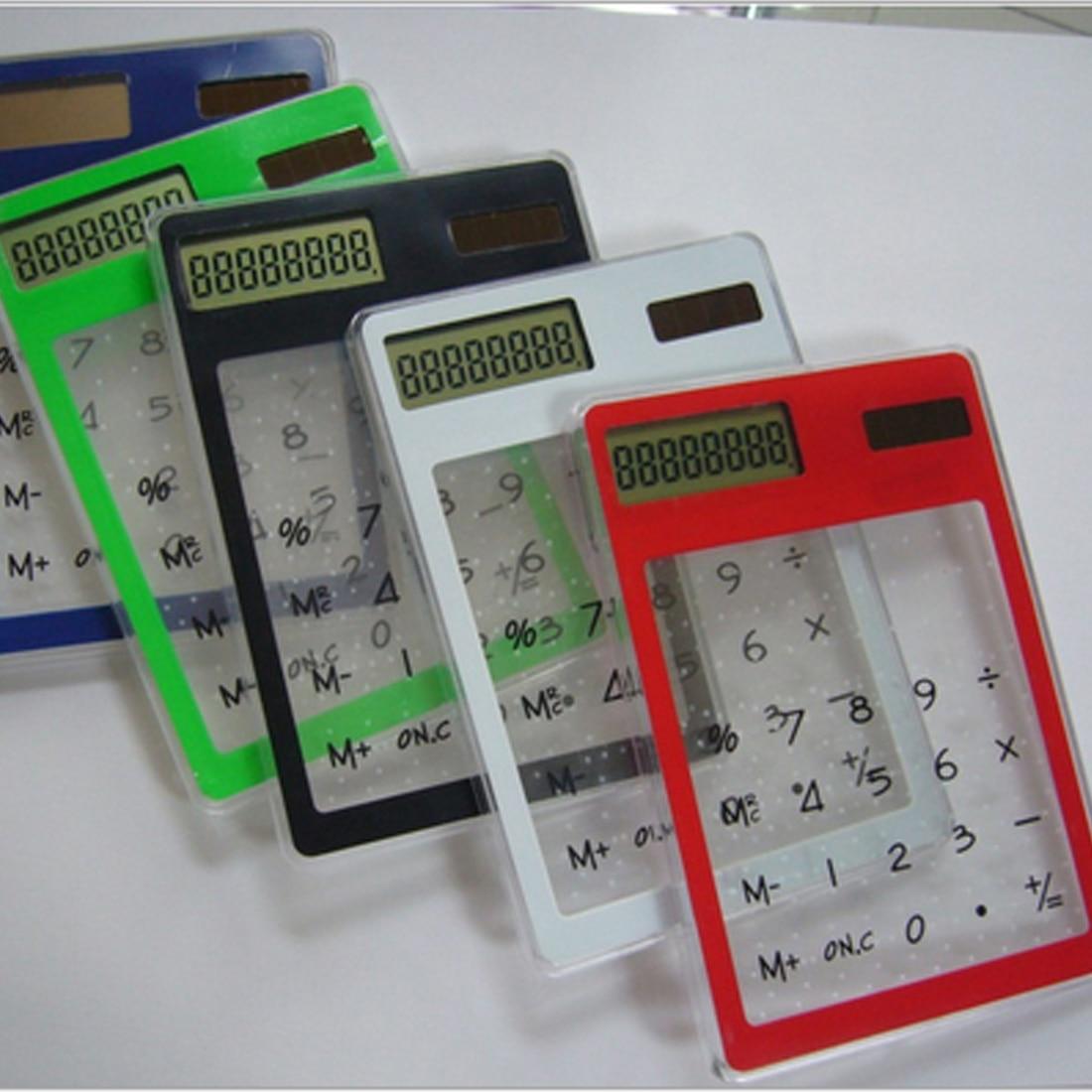 Centechia 8-значный ЖК-дисплей Сенсорный экран ультра тонкий прозрачный Солнечный CalculatorStationery ясно научный калькулятор офисные