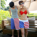 Wholesale American flag casual beachwear for men and women couple new quick-drying loose shorts beach pants