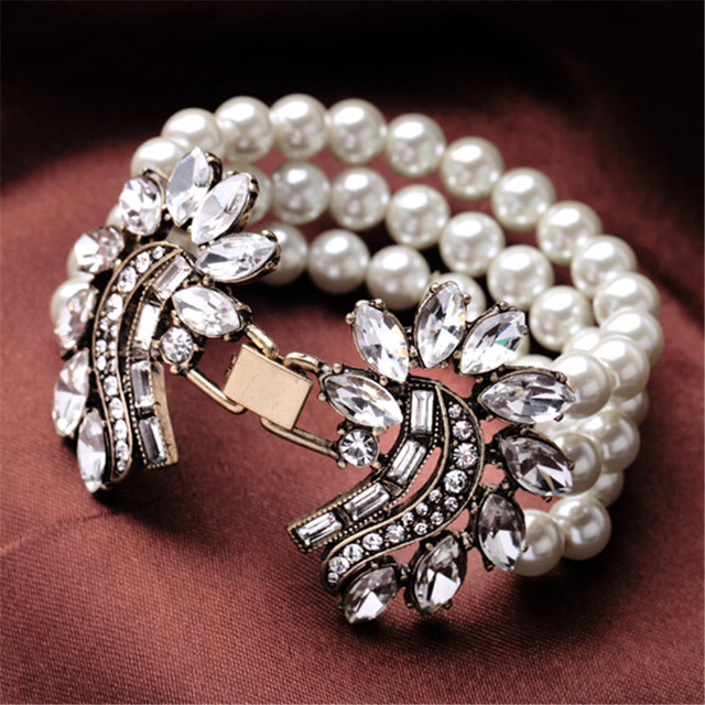 2017 Top Mode Exquisite Vintage Nachahmung Perle Kristall Blumen Charme Armbänder & Armreifen Für Frauen Fabrik Direktverkauf