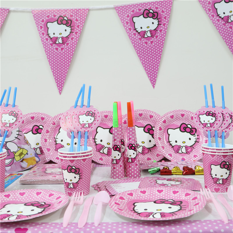 1Pack 128pcs Luxury Kids Birthday Party Decoration Set Hello Kitty