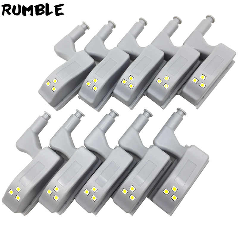 10pcs/Set Universal Hinge LED Sensor Light Kitchen Bedroom Living Room Cabinet Cupboard Closet Wardrobe 0.25W Warm White Light
