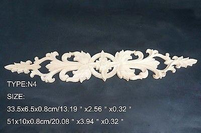 N4 -33.5x6.5x0.8cm Wood Carved Long Onlay Applique Unpainted Frame Door Decal Working Carpenter Flower