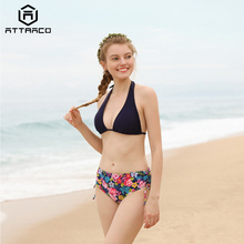 Attraco Bikini 2019 Swimsuit Women Sexy Swimwear Solid Retro Floral Print Side Bandage Bathing Suit Push Up Summer Bear