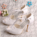 Wedopus MW312 T-Strap Summer Platform Women Sandals High Heels White Bridal Wedding Shoes Small Size