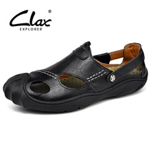 CLAX Mens Sandals 2018 Summer Leather Sandal Men Breathable Fisherman Shoes Soft Casual Shoe Walking Footwear