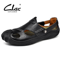 CLAX Men's Sandals 2018 Summer Leather Sandal Men Breathable Fisherman Shoes Soft Casual Shoe Walking Footwear