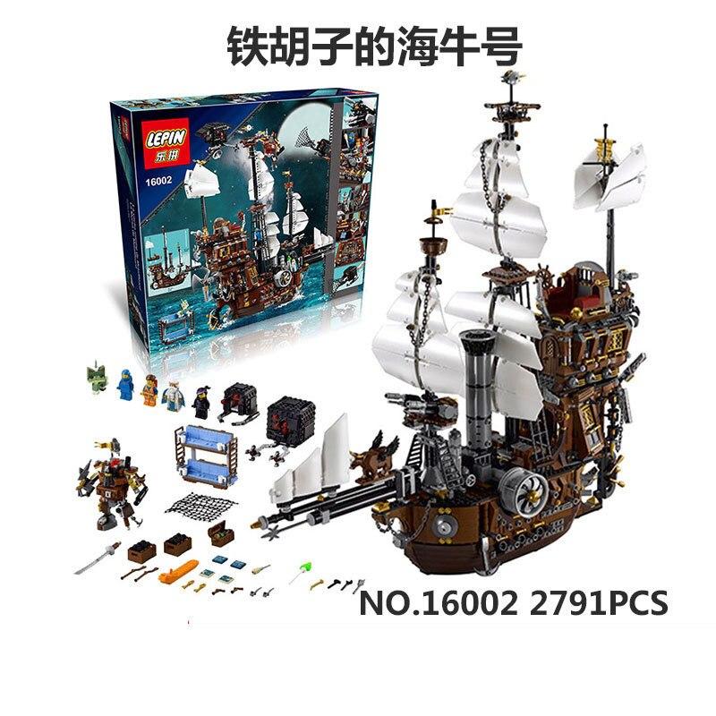 16002 Vaca Marina del Barco Pirata Barba Metal Modelo Kits de Construccion Ladrillos Bloques Juguetes Con 70810 diario de una vaca