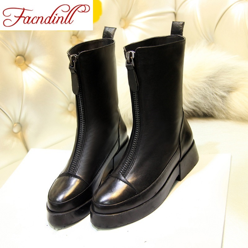 ФОТО women's ankle boots 2016 fashion real leather autumn winter boots high heels pointed toe shoes woman boots black zipper boots