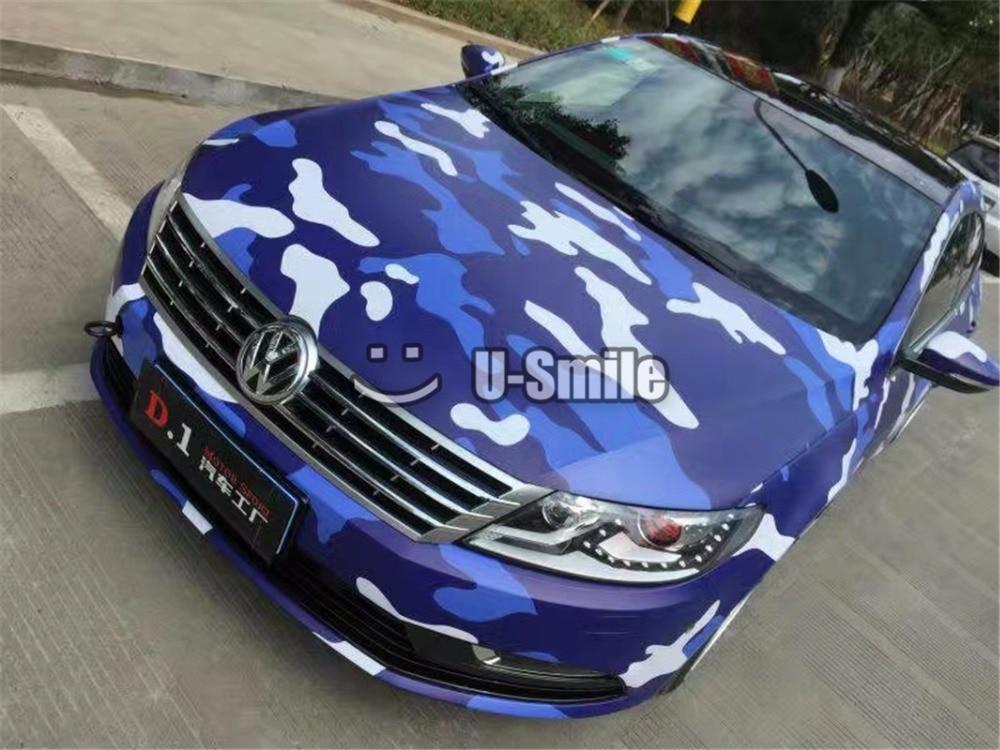 Film de carrosserie de voiture en feuille de vinyle Camouflage bleu urbain sans bulle pour camion JEEP SUV
