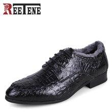 Winter Men's Business Flats Genuine Leather Men Dress Shoes Warm Pointed Toe Crocodile Pattern Formal Male Shoes Plus Size 36-50