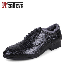 Winter Men's Business Flats Genuine Leather Men Dress Shoes Warm Pointed Toe Crocodile Pattern Formal Male Shoes Plus Size 36-50