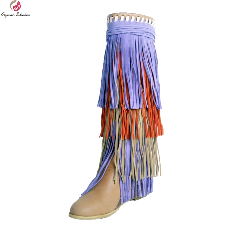 Original Intention Nice Fashion Women Knee High Boots Elegant Fringe Round Toe Wedges Boots Beige Shoes Woman Plus US Size 4-15 цена 2017