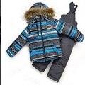 DT0154 Rusia Invierno de Los Niños Ropa de Los Bebés Fijó Traje de Esquí Juegos de niños A Prueba de Viento Cálido Abrigo + Bib Pants + Vest 3 unids. conjunto