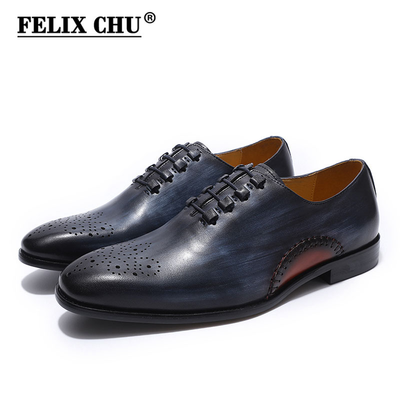 FELIX CHU Luxury Italian Mens Oxfords Genuine Leather Brown Black Blue Brogue Shoes Men Formal Shoes Wedding Party Dress Shoes hot sale luxury brand men classic oxfords italian mens leather dress shoes new men formal shoes black white patch flowers 39 46