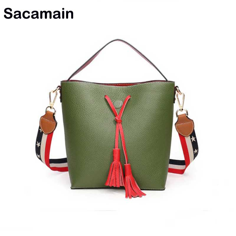Sac a main Brand Bucket Fashion Women Tassel Bag Bolsa Ladies Tote Shoulder Bags Girl sac Cow Leather Women Handbag Wide Strap esufeir brand genuine leather women handbag cow leather patchwork shoulder bag fashion women messenger bag tote bags sac a main