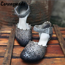 New 2016 original Head layer cowhide pure handmade Weave sandals,the retro art mori girl shoes,Women's casual shoes Flats shoes