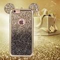 Kisscase para iphone 6 plus bonito ouvidos 3d luxo glitter brilhante casos de telefone para o iphone 6 s plus voltar protector capa à prova de choque capa