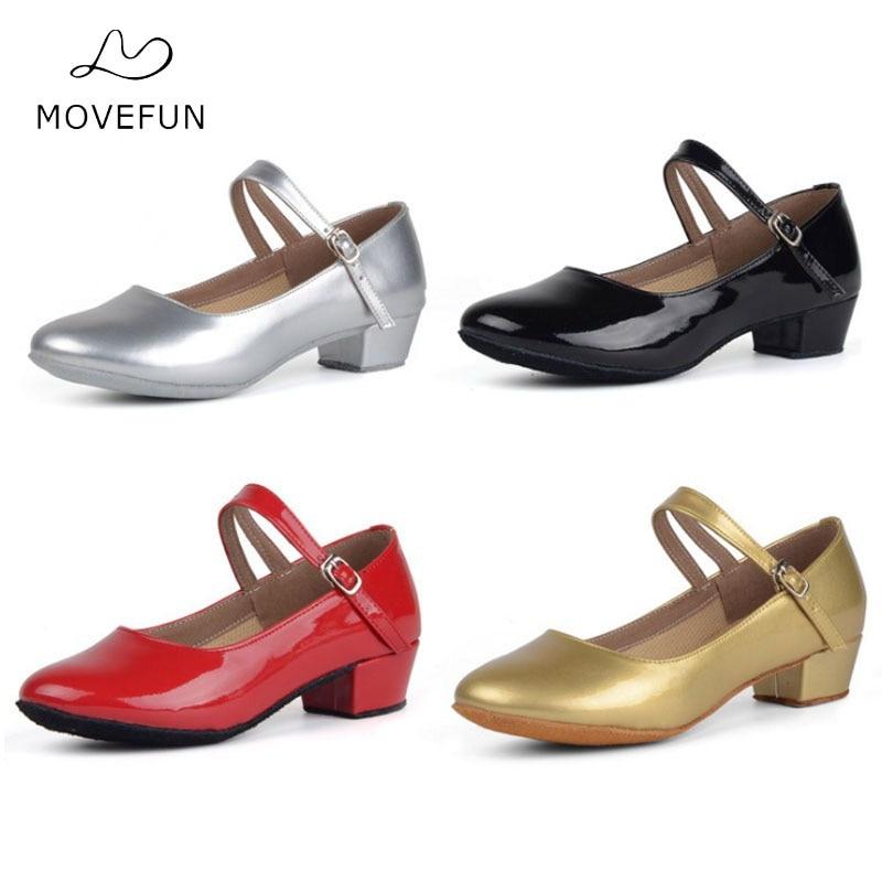 Movefun Children Ballroom Tango Latin Dance Shoes For Girls Kids Women Black Dancing Shoe Low Heels Modern Square Dance Shoes