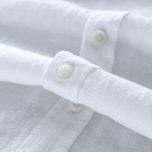 Image 5 - גברים של 100% טהור פשתן ארוך שרוולים חולצה גברים מותג בגדי גברים חולצה S 3XL 5 צבעים מוצק לבן חולצות גברים camisa חולצות mens